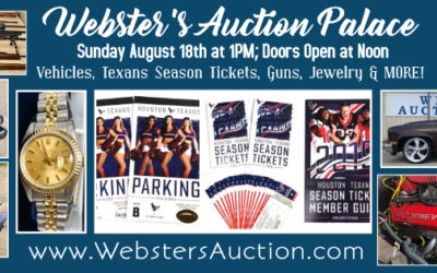 SUNDAY AUGUST 18th – Texans Tickets, Jewelry, Vehicles & Bankruptcy Guns