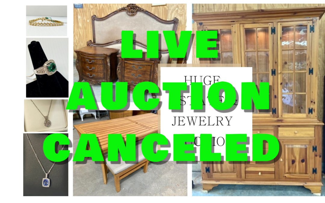AUCTION POSTPONED –  FURNITURE, JEWELRY & ESTATE AUCTION WILL BE SOLD ONLINE FRIDAY JANUARY 15TH