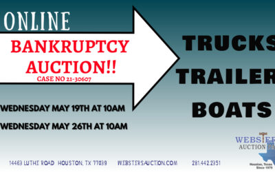 ONLINE AUCTION – BANKRUPTCY TRUCKS, TRAILERS & BOATS WEDNESDAY MAY 19TH – WEDNESDAY MAY 26TH