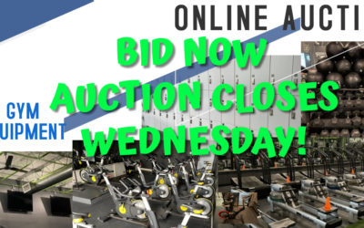 ONLINE AUCTION – GYM EQUIPMENT & FURNISHINGS – CLOSES WEDNESDAY OCTOBER 27TH AT 10AM